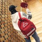 Striped Trim Backpack With Pouch