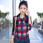 Lace Panel Plaid Shirt