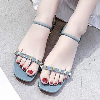 Studded Faux Leather Low Heel Sandals