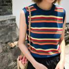 Striped Knit Vest Sapphire Blue - One Size