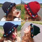 Tasseled Knit Bucket Hat