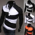 Color Panel Long Sleeve Polo Shirt
