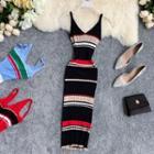 Striped Knitted Midi Sheath Dress