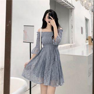 Off-shoulder Lace 3/4-sleeve Dress