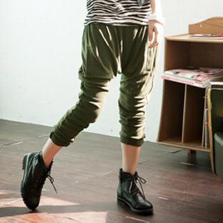 Elastic-waist Harem Pants