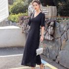 Dotted A-line Midi Chiffon Dress