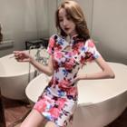 Short-sleeve Keyhole Floral Print Mini Qipao