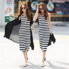 Striped Long Tank Dress Stripe - One Size