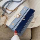 Faux Pearl Accent Shoulder Bag