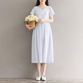 Short-sleeve Star Print A-line Dress