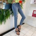 Slit-detail Cropped Skinny Jeans