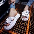 Genuine-leather Platform Flower-accent Slide Sandals