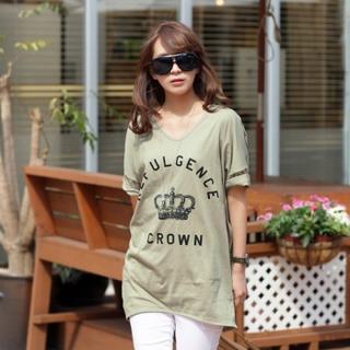 Drop-shoulder Printed T-shirt