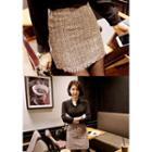 Fringe-hem Tweed Mini Skirt