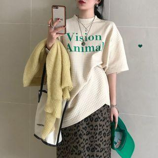 Lettering Loose-fit Short-sleeve T-shirt / Leopard Print Midi Skirt