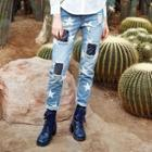 Washed Distressed Printed Slim-fit Jeans