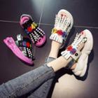 Embellished Lettering Platform Sandals