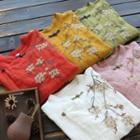 Long-sleeve Floral Frog Buttoned Top