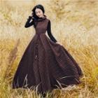 Set: Knit Top + Sleeveless Check Maxi Dress