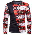 Asymmetric Patterned Panel Long-sleeve T-shirt