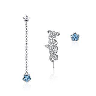 925 Sterling Silver Fashion Letter Hope And Blue Flower Stud Earrings With Austrian Element Crystal Silver - One Size