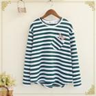 Cat Embroidered Striped Long Sleeve T-shirt