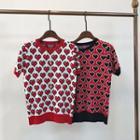 Short-sleeve Sweetheart Patterned Knit Top