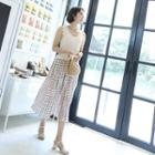 Diamond Pattern Pleated Crepe Skirt