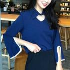 Cutout Piped Bell-sleeve Top