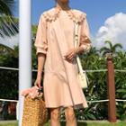 Crochet Trim Collared Elbow-sleeve Dress
