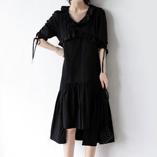 Irregular Hem V-neck Short Sleeve Dress Black - M