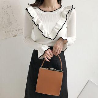 Frilled Long-sleeve Knit Top