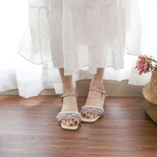 Block Heel Mesh Ruffled Sandals