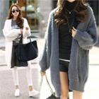 Open-front Furry Knit Cardigan