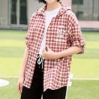 Plaid Lettering Hooded Shirt