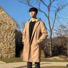 Detachable-hood Wool Blend Coat