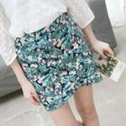Floral Print Folded Mini Skirt