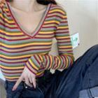 Long-sleeve V-neck Striped Knit Top Stripe - One Size