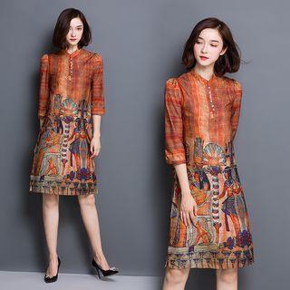 Printed 3/4-sleeve Shift Dress