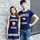 Couple Matching Short-sleeve Lettering T-shirt / Sleeveless Mini Dress