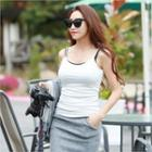 Brushed-fleece Lined Colored Camisole Top