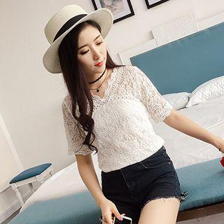 V-neck Short-sleeve Lace Top