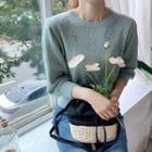 Woolen Pointelle-knit Top