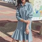 Denim A-line Shirt Dress