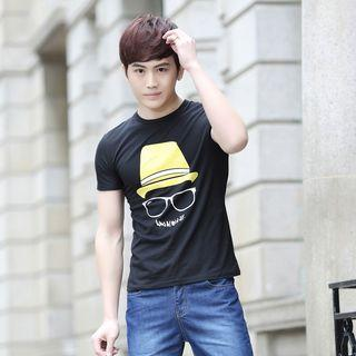 Printed Hooded Short-sleeve T-shirt