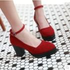 Ankle-strap Chunky Heel Pumps
