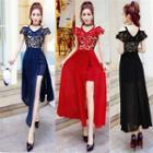 Cold-shoulder Maxi Slit A-line Dress