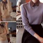 Polka-dot Detachable Collar Knit Top