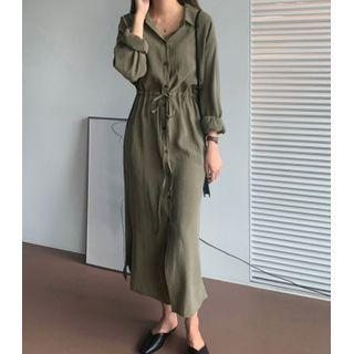 Tie-waist Maxi Shirtdress Army Green - One Size