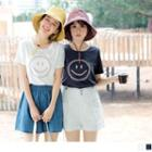 Smile Face Embroidered Short-sleeve T-shirt